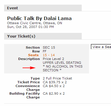 Dalai Lama tickets: NO ALCOHOL
