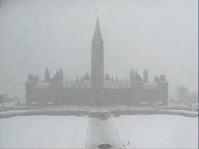 Parliament with snow