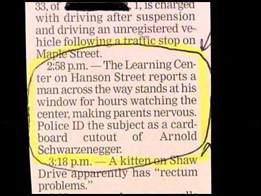 News clipping about Arnie cutout